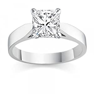 0.26 Carat D/IF Princess Certified Diamond Solitaire Engagement Ring in Platinum