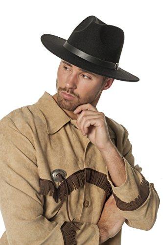 Jannes 9570 Cowboy-Hut Dallas Wollfilz Flache Krempe Leder-Band Erwachsene Einheitsgröße Schwarz (Flach Schwarz Krempe Hut)