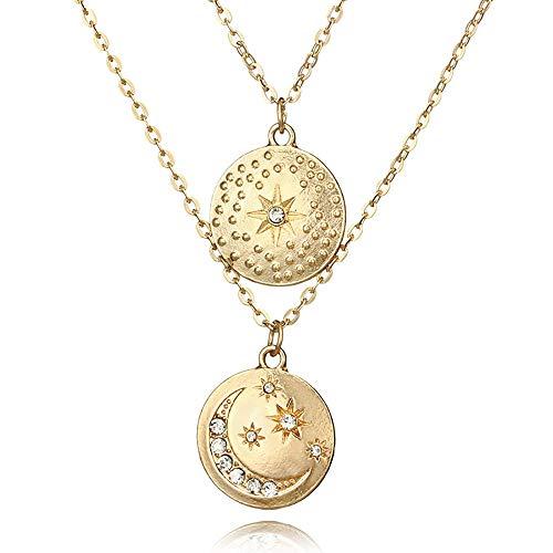WoCoo Halskette mit Anhänger Sternen und Mond mit Pailletten Classic Festival/Gift/Sweetheart Gold
