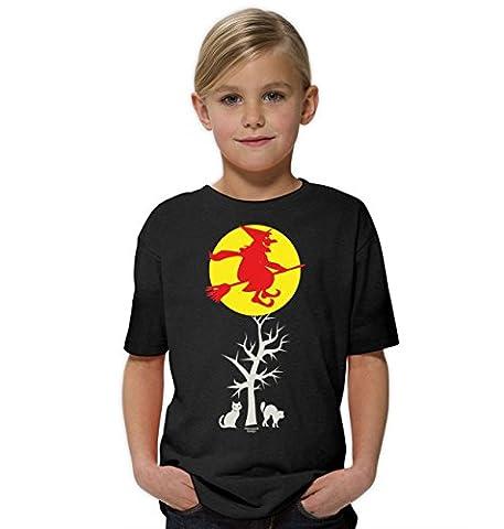 Hexe ::: Lustiges Halloween Kinder-Fun-Kostüm-T-Shirt Mädchen Teenager Party-Outfit-Bekleidung tolles Geschenk Farbe: schwarz Gr: (Kostüm Made T Shirts)