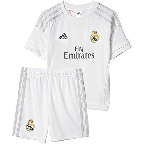 adidas 1ª Equipación Real Madrid CF Mini - Conjunto, color blanco / gris, talla 104
