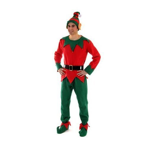 Elf Adult Christmas Fancy Dress Costume with Top, Trouser, Hat, Shoes & ()