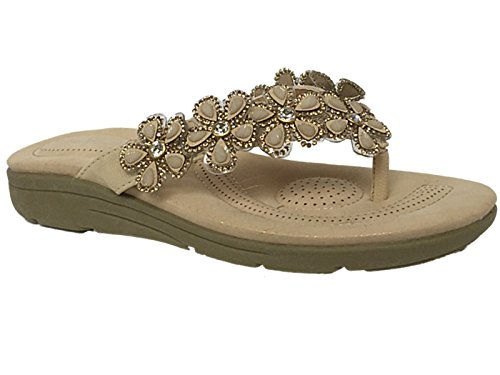 ladies-leather-look-fashion-diamante-bead-flat-toe-post-flip-flop-summer-sandal-shoes-size-3-8-uk-6-