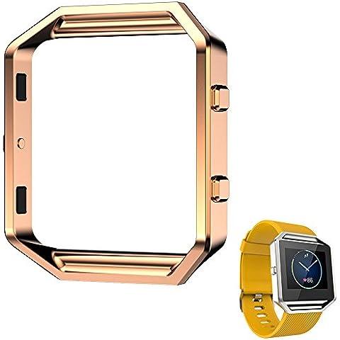 Spritech (TM)-Bumper di eleganza-Cornice portafoto e orologio, in metallo, Blaze-Fermaglio per Fitbit Blaze-Orologio da donna, rose gold, taglia unica - Rose Rose Gold Pocket Watch