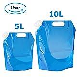 super vaule 2-Pack Wasserkanister Faltbar Tragbar Faltbarer Trinkwasser Wasserbehälter Wassertank für Wandern Camping Picknick Travel BBQ (5L+10L)