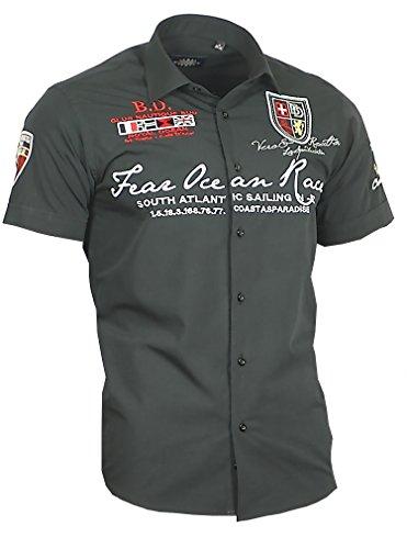 Louis Binder de Luxe Herren Herren Hemd 806 Bestickt modern fit Kurzarm schwarz L 42 - Schwarzes Besticktes Hemd
