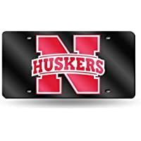 Nebraska Huskers Laser Cut Black License Plate by SportsMagicK