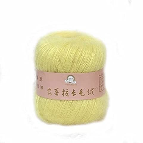 Celine lin One Skein Soft&Warm Angola Mohair Cashmere Wool Knitting Yarn 50g,Light yellow by Celine lin
