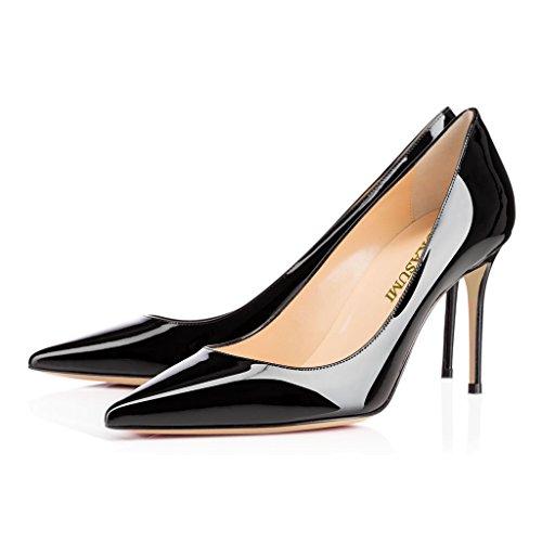 EDEFS Femmes Artisan Fashion Escarpins Classiques Pointus Chaussures à talon haut de 85mm Noir Noir