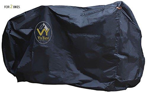 VivYam Premium Qualität Fahrradabdeckung Wasserdicht Mit Loch für Sicherheitskette Fahrradgarage Fahrradschutzhülle 210D Oxford Stoff, Größe XL
