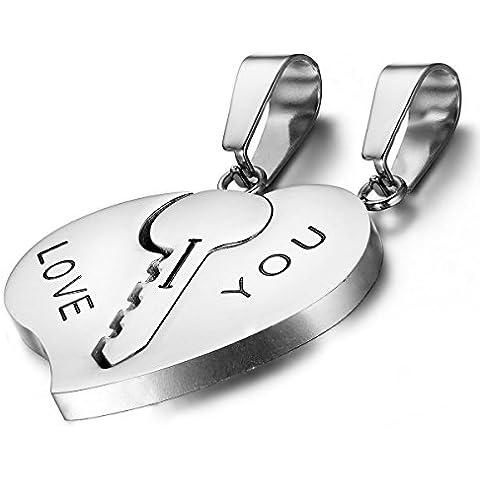 Flongo 2pcs collane da coppia pendente argento cuore chiave giunturato