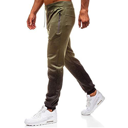 Dorical Herren Sport Jogging mit elastischem Beinabschluss Farbverlauf Fitness Hose beiläufige lose Trainingshose Sporthose Sweatpants Stretch Relaxed Sporthose mit Kordelzug(Armeegrün,XX-Large)