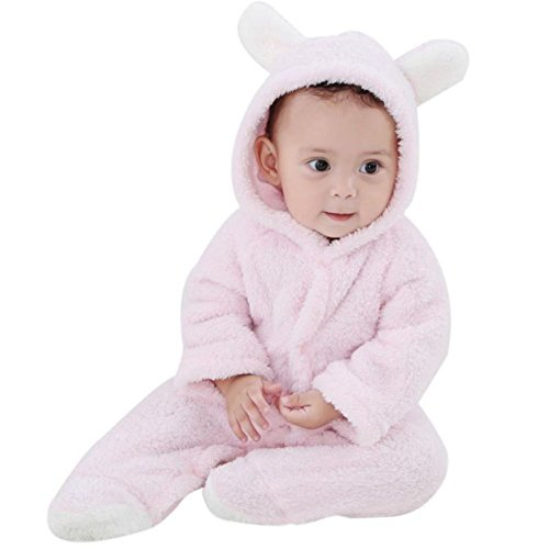 Baywell Baby Strampler Overall, Langram Korallen Fleece Cartoon Warme Winter Baby Hoodie Jumpsuit (Rosa2, M/3-6 Monate)