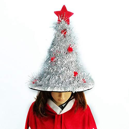 ZWYK Weihnachten Weihnachtsbaum Hut Leuchtende Haar Hoop Weihnachtsfeier Dekoration GrüN Strohhut Verkleiden Prop Hut