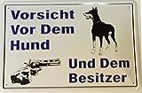 Vorsicht vor Hund + Besitzer Blechschild Gewölbt Neu 20x30cm VS2114