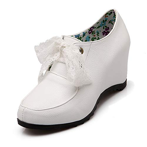 MENGLTX Sandali Tacchi Alti Big Siz 34-43 Scarpe da Ginnastica con Rialzo in Altezza con Lacci Moda Nero Bianco Scarpe da Donna Comfort per Il Tempo Libero 6 Bianco