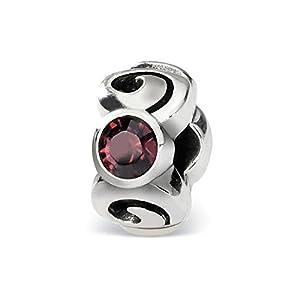 Black Bow Jewellery Company: Geburtsstein Juni, 3-Kristalle Charm in Silber für 3 mm-Armbänder