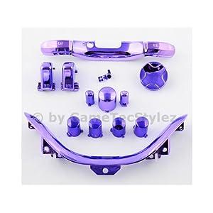 Xbox 360 Controller Mod Kit – ABXY Buttons, D-Pad, Guide Button, Start und Back Button, Bumper RB/LB, Trigger RT/LT, Bottom Trim – chrom lila/violett