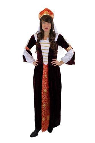 Kostüm Damenkostüm Kleid und Haube Mittelalter Russland Zarin Edelfrau Burgfrau Königin Cosplay Gr. 38, S