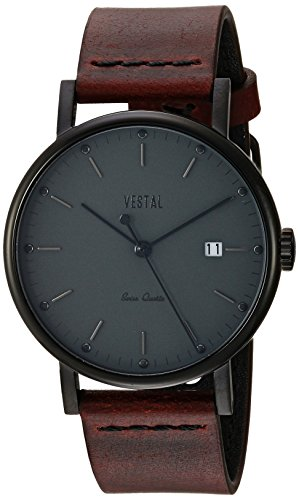 Vestal 'Sophisticate 36' Swiss Quartz Stainless Steel and Leather Dress Watch, Color:Brown (Model: SP36L05.CVBK)
