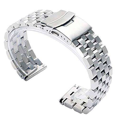 24mm Solid 316L Stainless Steel Watch Straps, Quick Release Mens Replacement Watch...
