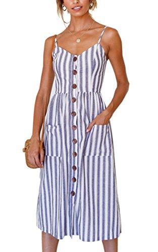 Angashion Damen V Ausschnitt Spaghetti Buegel Blumen Sommerkleid Elegant Vintage Cocktailkleid Kleider, Größe: M, Farbe: Blau Streifen
