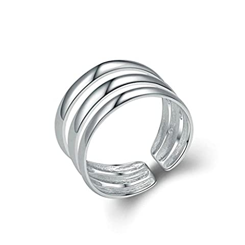 Aooaz Womens Rings Sterling Silver Rings Wedding Band Promise Ring Adjustable Ring Three Rows Ring
