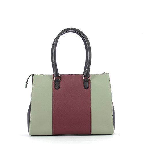 ARMANI JEANS Tricolor Handtasche, Safran Stoff, Griffe und Reißverschluss TAUPE/BURGUNDY