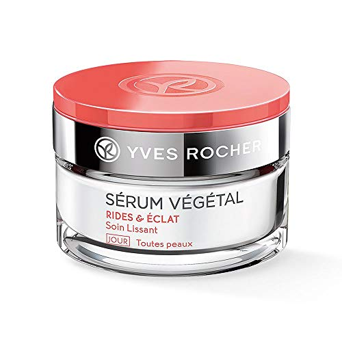 Yves Rocher SÉRUM VÉGÉTAL - Cuidado para el día alisador, cuidado antiarrugas y base de maquillaje, 1 bote de cristal de 50 ml