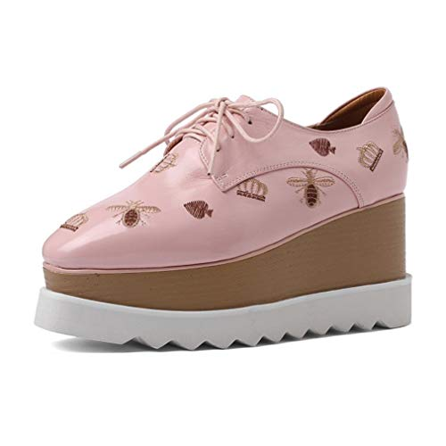 Patent-leder-stiefel (YAN Frauen Loafer Flats Platform Shoes Slip On Patent Leder Stickerei Moccasins Damen Low Top Wedge Sneakers 8cm Black Pink,Pink,39)