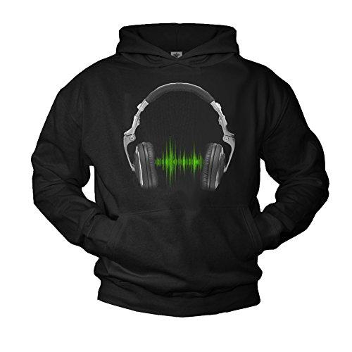 MAKAYA DJ Hoodie mit Kopfhörer Headphones Electro Musik Kapuzenpullover schwarz M