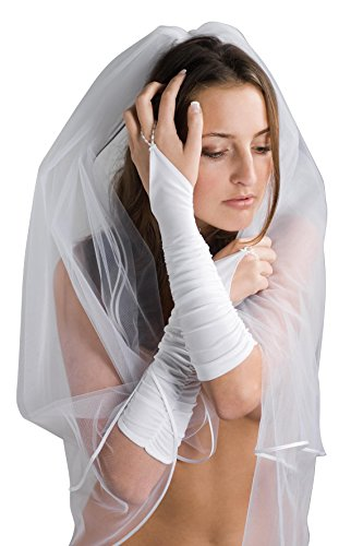 Drapierte geraffte Brauthandschuhe für Brautkleid - R13 (weiß)