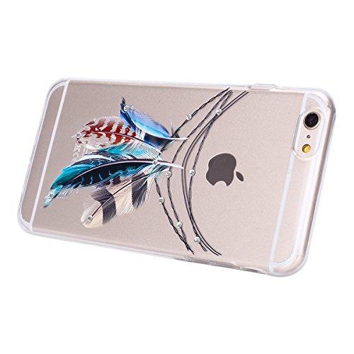 iPhone 6S Plus Hülle,iPhone 6 Plus Hülle,JAWSEU Diamont Feder Traumfänger Muster TPU Case Hülle Ultradünne Silikon Gel Schutzhülle Durchsichtig Bling Glänzend Glitzer Kristall Transparent TPU Silikon  Feder#1