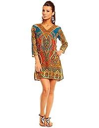 Looking Glam Vestido de la túnica de Kaftan de la impresión tribal de ...