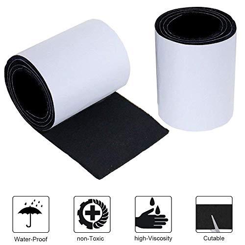 NACTECH 2 Rollo Cinta Fieltro Adhesivo 5mm Fieltro Sillas Almohadillas de Fieltro para Muebles Cortable Proteger Piso Reducir Ruidos Rasguños 100x10cm Negro