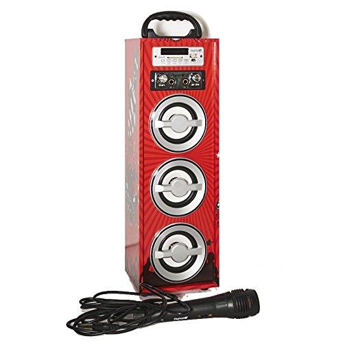 Karaoke DigiVolt HIFI-21 by MovilCom | altavoz bluetooth reproductor mp3 reproductor multimedia USB Micrófono Radio FM Entrada AUX Mando Rojo