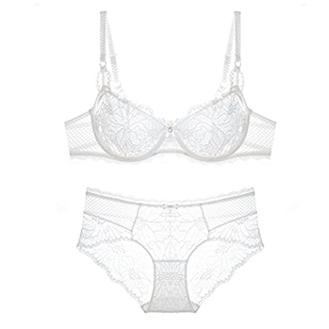 iiniim Women's Push Up Embroidery Bras Set Thin Transparent Lace Lingerie Bra and Panties White 36D