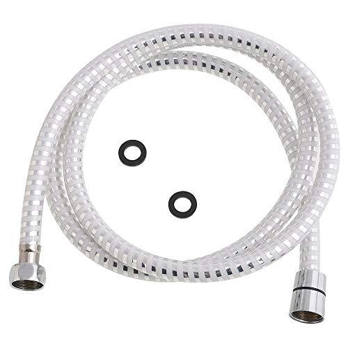 takestop Flessibile per Doccia PVC Bianco Acciaio 1.8M 1/2 Tubo ESY_52783 DOCCETTA MONOGETTO Attacco Universale Bagno