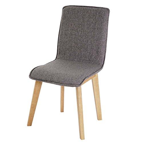 6x chaise de salle manger zadar fauteuil design r tro des ann es 50 tissu gris avec. Black Bedroom Furniture Sets. Home Design Ideas