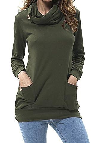Yidarton Femme T-Shirt à manches Longues Casual Chic Pullover Sweatshirt Avec Poches (S, Vert)