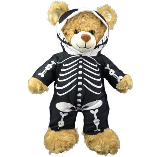 schwarzer Skelett Morphsuit Teddybär Outfit Kleidung, für 20cm Teddybären