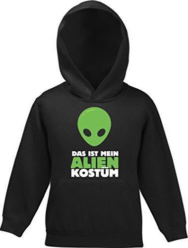 nder Kids Kapuzen Hoodie - Pullover mit Das ist mein Alien Kostüm 2 Motiv, Größe: 140,Schwarz (Lustige Alien-kostüm)