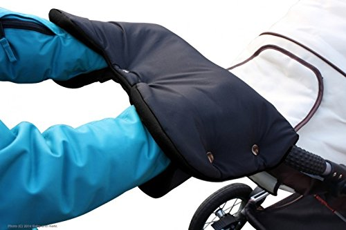 ByBUM - Accessoire Poussette, Chauffe-mains, Manchon avec un intérieur en polaire, Protège Mains Chauds, Taille universelle pour toutes les poussettes, poussette-canne, remorque de vélo, Colour:Noir
