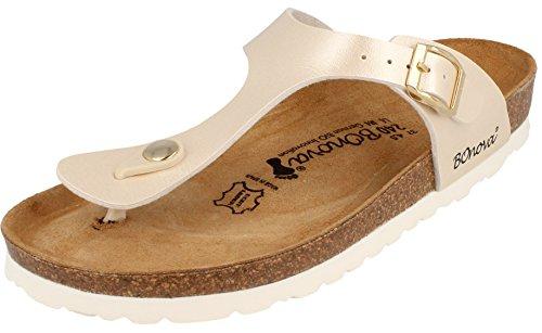 BOnova® Ibiza Zehentrenner in 8 Farben für Damen, Sandalen - Pantoletten mit Korkfußbett - HANDMADE IN SPAIN light-beige metallic