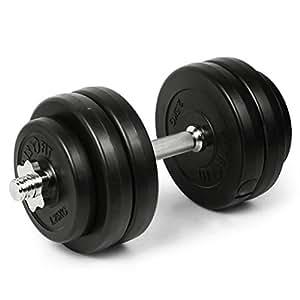 Klarfit Haltères Musculation Bras - Haltère Court avec 6 Disques de Poids Inclus, 15kg de Fonte, Bic