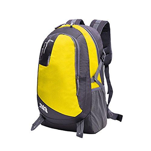 LQABW Bequeme Und Atmungsaktive Studenten Schulter Im Freien Große Kapazitäts-Reisen Ultra-Light Portable Sports Wandern Rucksack Tasche Yellow