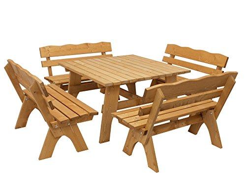 DEGAMO Gartengarnitur Freital 5-teilig, 4X Bank 120cm und 1x Tisch 120x120cm, Kiefer imprägniert
