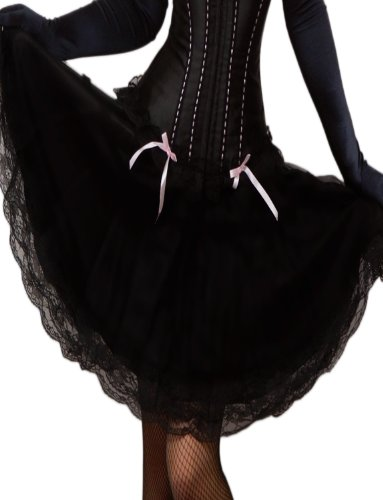 Yummy Bee Schwarzer Schwingender Rock Plissiert Burlesque Spitze Größe 34 - 58 (54) (Karneval Plus Size Kostüme)