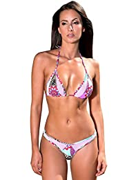 Maillot de Bain Femme Tanga Bikini Brésilien Marron Orange Résille Bleu - Bounty