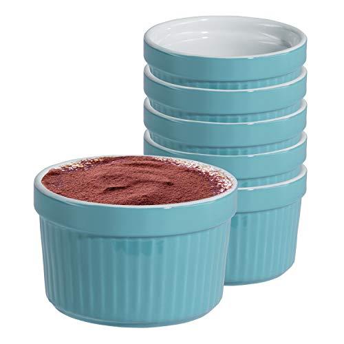 MamboCat 6er Set Tartelettes-Förmchen Lissi 200 ml Ø 9 cm Mini-Aufbackform Auflauf-Form Keramik-Schälchen Pastell-türkis Porzellan-Geschirr Küchen-Zubehör Mini-flan
